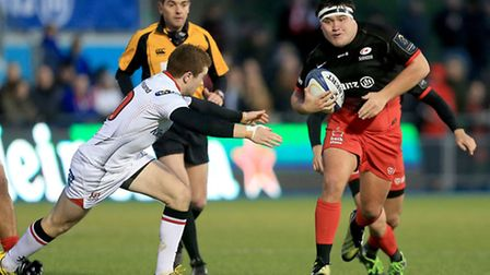 Saracens' Jamie George (right) goes past Ulster's Paddy Jackson at Allianz Park. Pic: Matthew Impey/