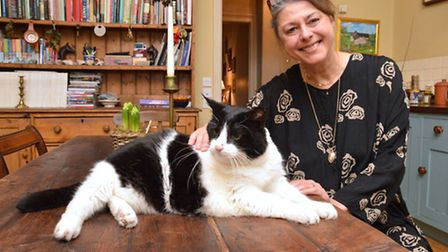 Author Bettina Blume and her cat, Bignose. Picture: Polly Hancock