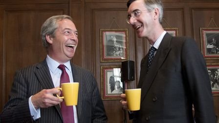 Nigel Farage and Conservative MP Jacob Rees-Mogg (right). Photograph: Isabel Infantes/EMPICS.