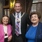 Lily Ebert and Agnes Grunwald-Spier with the mayor of Barnet, Mark Shooter (Picture: Nigel Sutton)