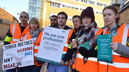 Striking junior doctors outside the Whittington Hospital in Archway on 12.01.15.