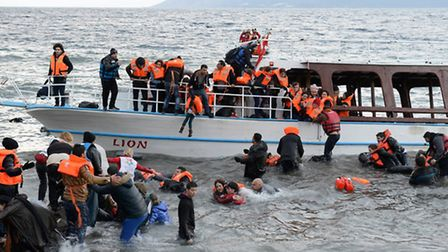 More than 140 refugees are helped ashore by a half dozen volunteers near Eftalou, Greece, on Novembe