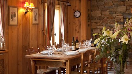 The dining area in Chalet Club Pierre