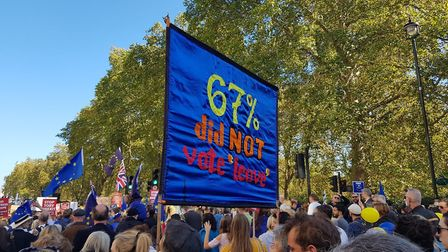 67% of people didn't vote to leave the European Union. A banner at the People's Vote March. Photogra