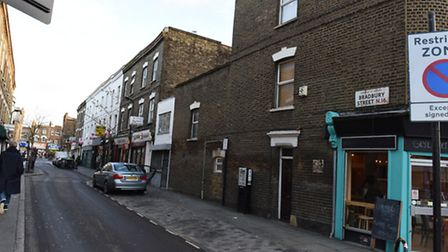 Sites in Dalston which have been threatened by Crossrail 2. Bradbury Street south side
