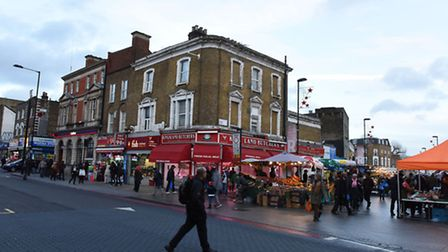 Sites in Dalston which have been threatened by Crossrail 2. Looking across to site C from Kingsland