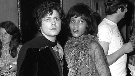 Marc Bolan and his girlfriend, American singer Gloria Jones, at a party thrown by fellow pop star Ro