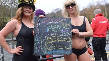 The Kenwood Ladies Pond Association New Year's Day swim. Pictured swimmers Sara Turnbull and Angela
