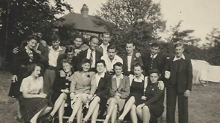 The refugees in the hostel garden at Willesden Lane just after the war