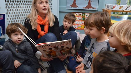 Manager Cathy Twomey-Brenner with pupils at the Little Tree Montessori Nursery in Hornsey. Picture: