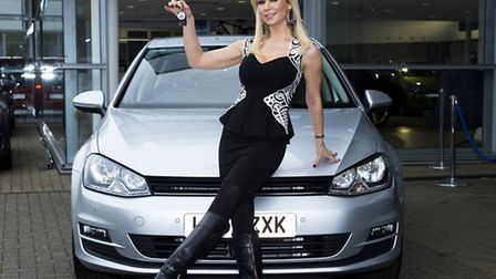 Strictly Come Dancing's Kristina Rihanoff with her new VW Golf at Alan Day in Finchley Road Hamps