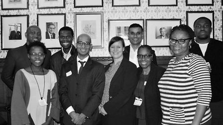 Members of the Hackney South and Shoreditch BAME forum with Meg Miller MP