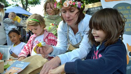 """Crouch End Festival 06.06.15. Craft activities in the Town Hall square, Tia Millar from """"A Crafty Al"""