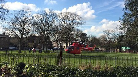 An air ambulance landed in Fortune Green after reports a man was hit by a vehicle in Finchley Road.