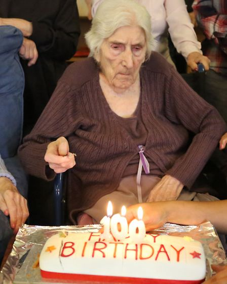 Marie Ell's 100th birthday celebrations at Romford Nursing Care Centre.