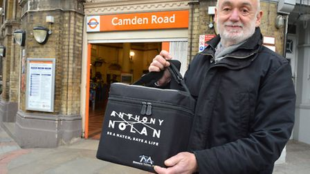 Peter Hodes, a courier for Anthony Nolan, outside Camden Road station.