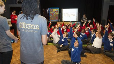 Pupils from Daubeney Primary School and Simon Marks Jewish Primary School at the Festival of Imagina
