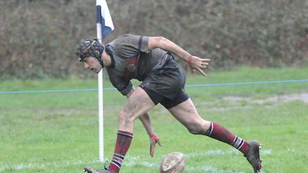 Will Jones scores his third try for UCS against Barnet Elizabethans. Pic: Nick Cook