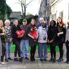 Sixth-form students from Our Lady�s Convent School in Hackney visiting residents of Jubb House