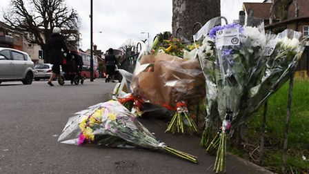 Flowers at the scene of the crash where Lewis Johnson, 18, died on Tuesday (Picture: Ken Mears)
