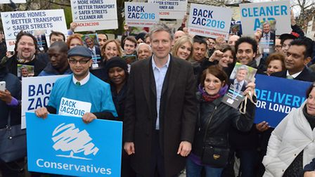 Zac Goldsmith, conservative candidate for London Mayor in Belsize Village on 05.02.16.