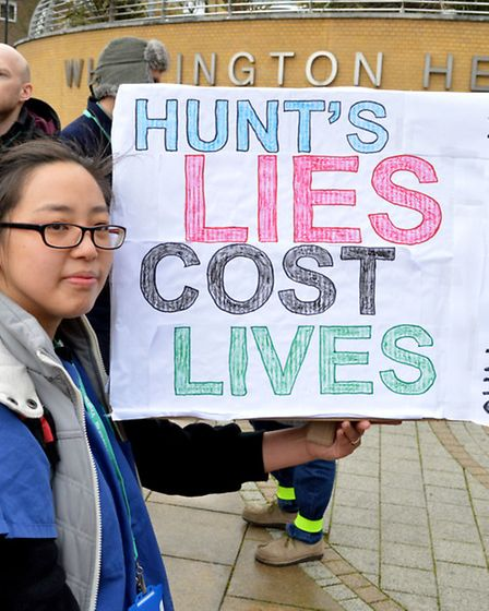 Striking junior doctors outside the Whittington Hospital during a national day of action 10.02.16. P