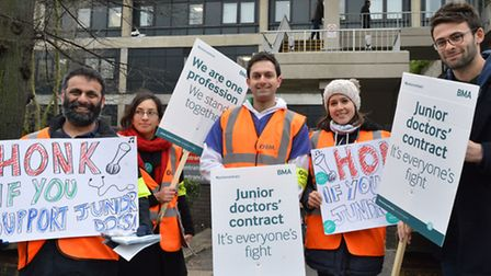 Striking junior doctors outside the Royal Free Hospital during a national day of action 10.02.16.