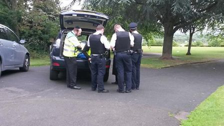 Police at the scene in Springfield Park following May's attack (Picture: Shomrim London/@Shomrim)