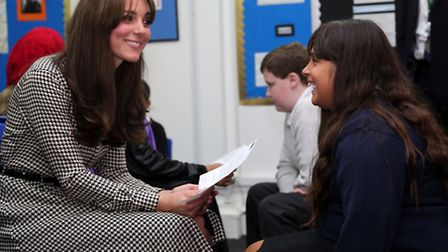 The Duchess of Cambridge talks to Mia during her visit the Centre .