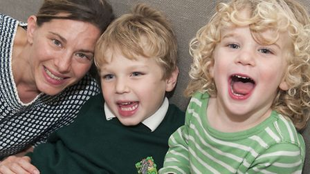 Alex Lyons with her children Oscar, five, and Benjy, three. Picture: Nigel Sutton