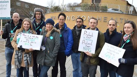 Striking junior doctors outside the Whittington Hospital during a national day of action 10.02.16.