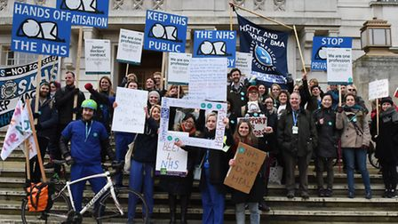 Junior Doctors from Homerton Hospital on strike and marching to Hackney Town Hall