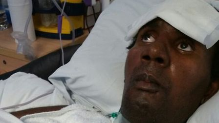 Marvin Couson in hospital after he was shot