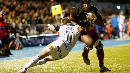 Saracens' Maro Itoje (right) tries to barge his way past Bath's Horacio Agulla at Allianz Park on Sa