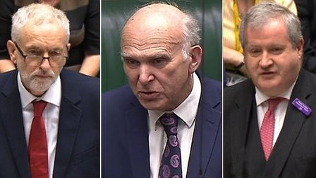 Opposition leaders in Westminster - Jeremy Corbyn, Vince Cable and Ian Blackford (Photographs: PA)