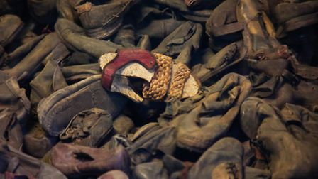 The pile of shoes taken from prisoners