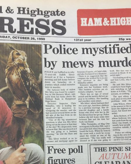 Mrs Silver's murder on the front page of the Ham&High in October 1990