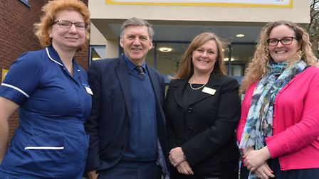 Geoff Martin with ward sister Blanka Aldridge, Hospice manager Jackie Laidlaw and fundraising manage