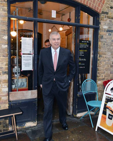 HRH Prince Andrew visits Camden Lock Market on 27.01.16. Pictured here leaving Chin-Chin Labs nitro