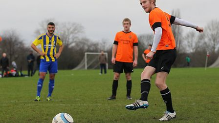 Greg Moorse scores Mustard's only goal with a penalty against Apoel in the London FA Sunday Trophy Q