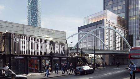 Plans: An artist's impression of the Shoreditch Highgate hotel (right), viewed from Boxpark