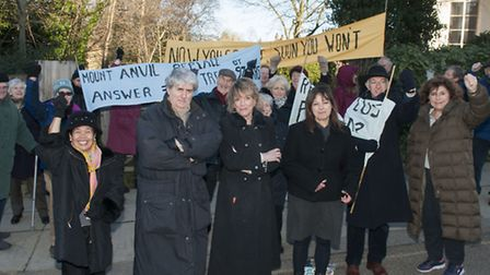Esther Rantzen and Tom Conti with protesters in Kidderpore Gardens