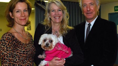 Special guests Juliet Stevenson and Alan Rickman with Lindsey Wylie at the AWTF's first skating gala