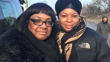Diane Abbott with humans right activist Michelline Safi Ngongo in Calais