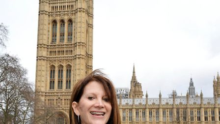 Lynne Featherstone celebrates the release of her book Equal Ever After outside the House of Lords.