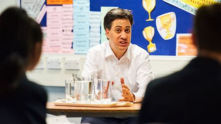 Ed Miliband returned to his old school, Haverstock, to talk to pupils. Picture: Jack Woodhouse