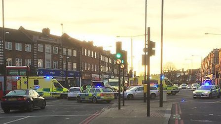 Emergency services at the scene of the crash this morning. Picture: @MPSHackney