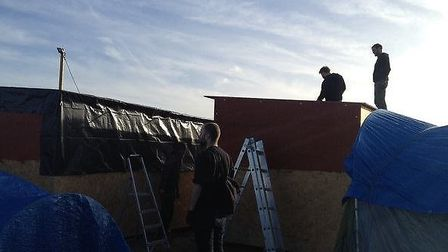 The group help build shelters in Calais