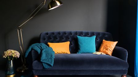 The Bailey velvet maxi sofa, royal blue, £1,599, available from DFS. PA Photo/Handout.
