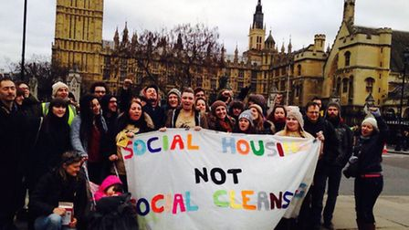 Members of the Hackney Renters consumer group protest outside Parliament over the Housing Bill